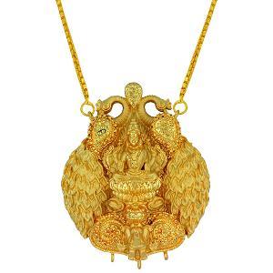 Gold Chain Necklace with Lakshmi Pendant