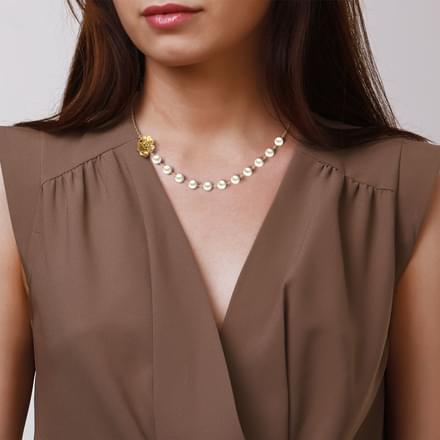 Pearl & Floret Gold Necklace