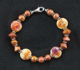 Amber rose bead bracelet