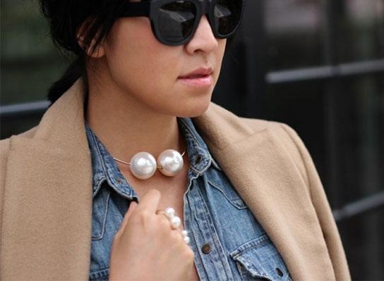 Large pearls choker