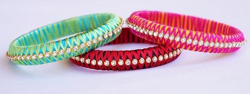 Handmade Criss Cross Silk Thread Bangles