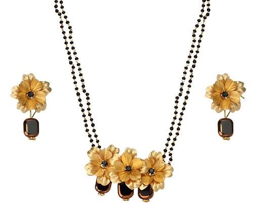 24 Kt floral mangalsutra set