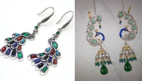 peacock-design-silver-earrings