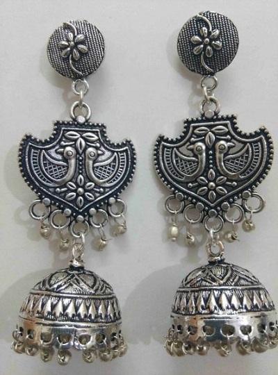 oxidised-silver-jhumkas
