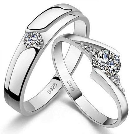Zircon Diamond Sterling Couple Rings