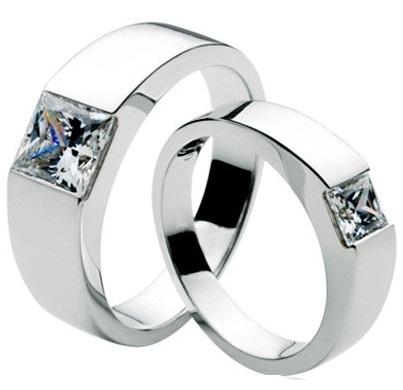 Cut diamond Silver couple rings