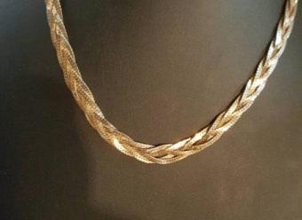 Wide Entwine Lock 24k Gold Chain