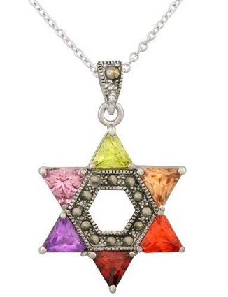 Multi-colored silver star Pendant