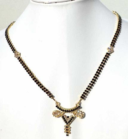 Black bead artificial mangalsutra